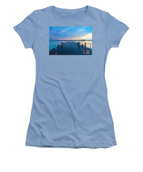 Toronto Pier During A Winter Sunset Women's T-Shirt (Junior Cut) by Nina Silver