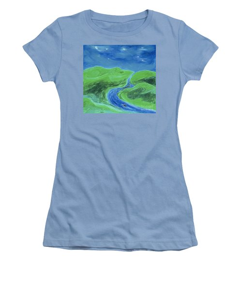 Women's T-Shirt (Junior Cut) featuring the painting Travelers Upstream By Jrr by First Star Art