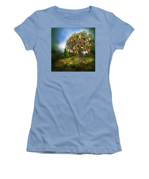 Women's T-Shirt (Athletic Fit) featuring the mixed media Tree Of Abundance by Carol Cavalaris