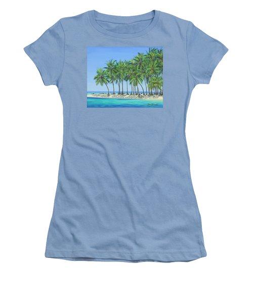 Women's T-Shirt (Junior Cut) featuring the painting Tropical Lagoon by Jane Girardot