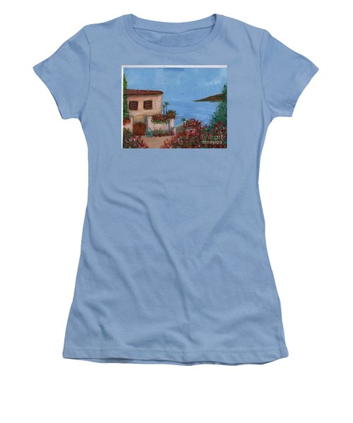 Women's T-Shirt (Junior Cut) featuring the painting Tuscany View by Becky Lupe