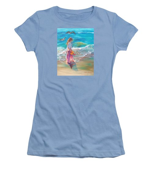 Walking In The Waves Women's T-Shirt (Junior Cut) by Karen Kennedy Chatham
