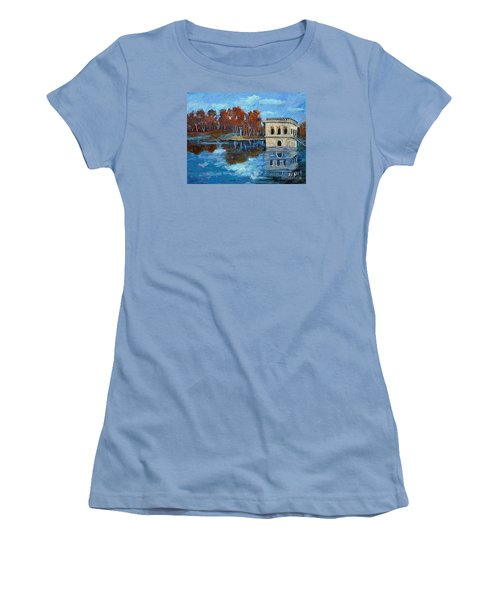 Women's T-Shirt (Junior Cut) featuring the painting Waltham Reservoir by Rita Brown