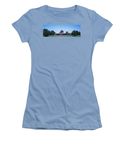War Memorial With Washington Monument Women's T-Shirt (Junior Cut) by Panoramic Images