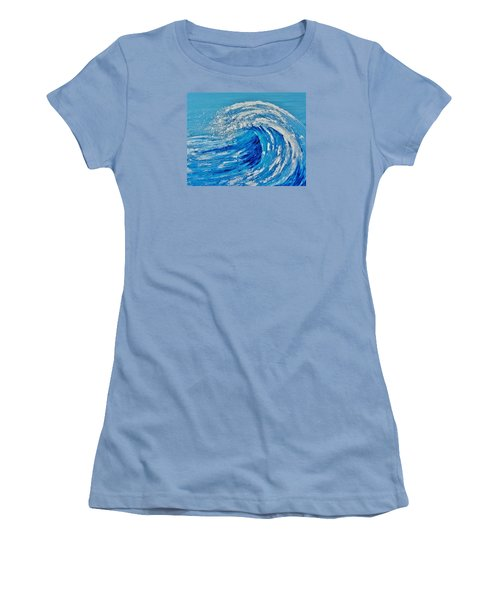 Women's T-Shirt (Junior Cut) featuring the painting Wave by Katherine Young-Beck