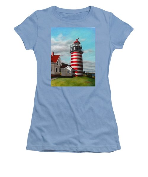 West Quoddy Head Lighthouse Women's T-Shirt (Junior Cut) by Eileen Patten Oliver