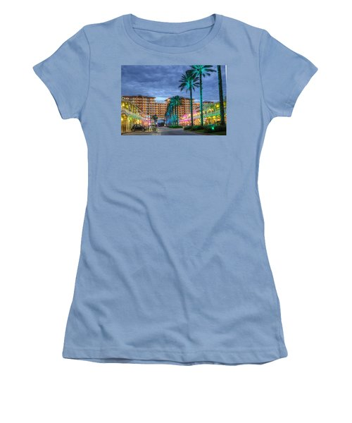 Women's T-Shirt (Junior Cut) featuring the digital art Wharf Turquoise Lighted  by Michael Thomas