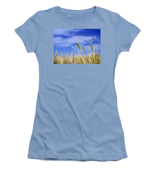 Women's T-Shirt (Junior Cut) featuring the photograph Wheat Trio by Keith Armstrong