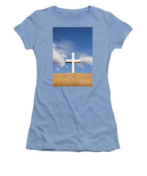 White Cross On Adobe Wall Women's T-Shirt (Athletic Fit)