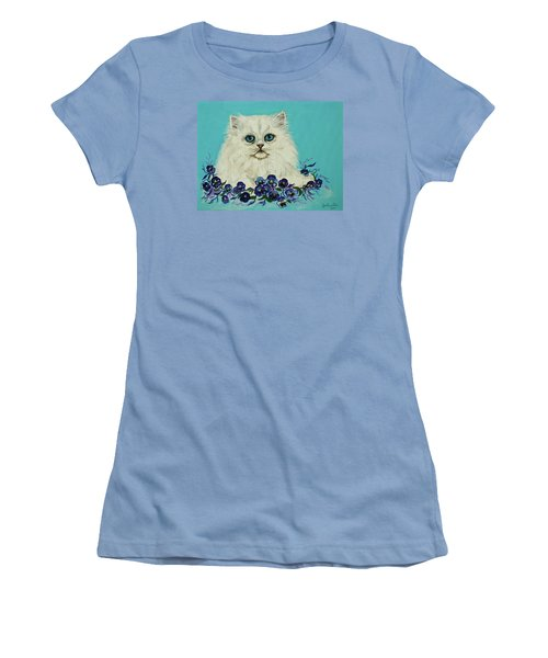 Women's T-Shirt (Junior Cut) featuring the painting White Persian In Pansy Patch Original Forsale by Bob and Nadine Johnston