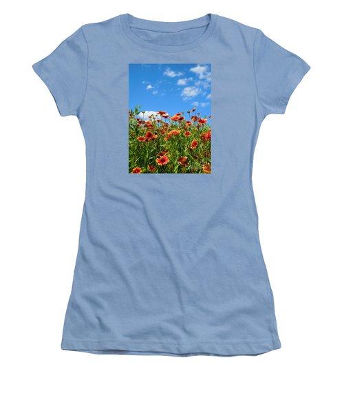 Women's T-Shirt (Junior Cut) featuring the photograph Wild Red Daisies #5 by Robert ONeil