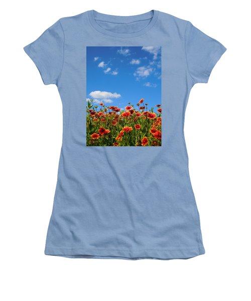 Women's T-Shirt (Junior Cut) featuring the photograph Wild Red Daisies #6 by Robert ONeil