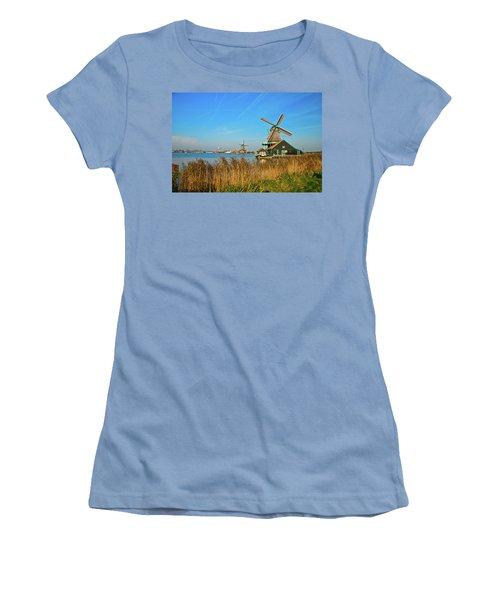 Women's T-Shirt (Junior Cut) featuring the photograph Windmills On De Zaan by Jonah  Anderson