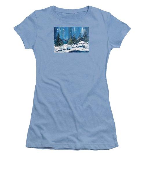 Winter Night Women's T-Shirt (Junior Cut) by Teresa Wegrzyn