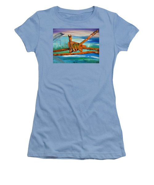 Women's T-Shirt (Junior Cut) featuring the painting Wire by Daniel Janda