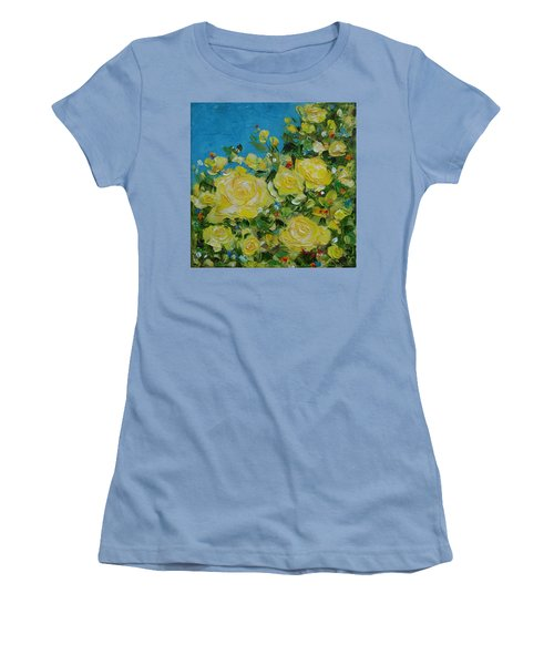 Women's T-Shirt (Junior Cut) featuring the painting Yellow Roses by Judith Rhue