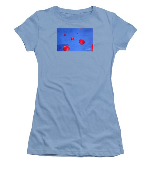 Women's T-Shirt (Junior Cut) featuring the painting Orbs In Space 1 -- Crossing Paths by Rod Ismay