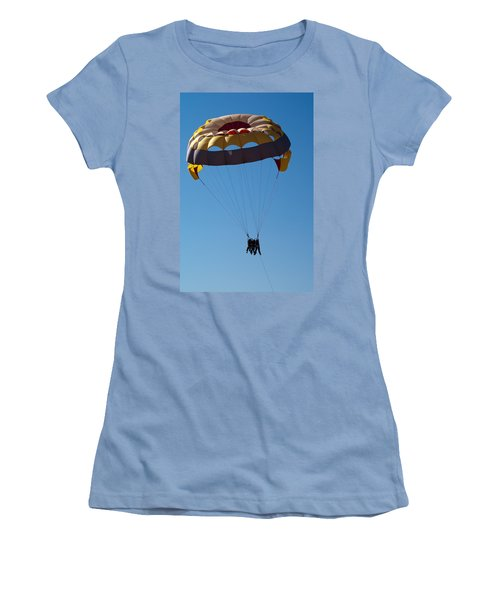 Women's T-Shirt (Junior Cut) featuring the photograph 3 People Para-sailing Pachmarhi by Ashish Agarwal