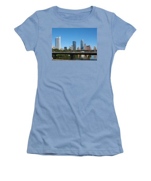 Austin Texas 2012 Skyline And Water Reflections Women's T-Shirt (Junior Cut) by Connie Fox