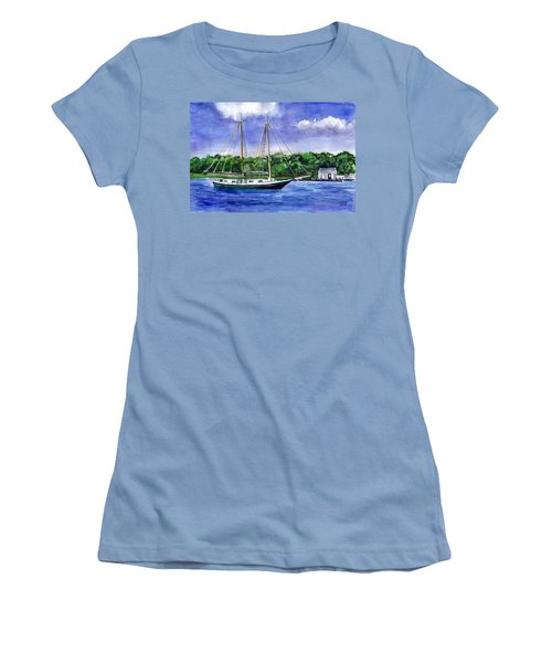 Women's T-Shirt (Junior Cut) featuring the painting Cedar Beach Schooner by Clara Sue Beym