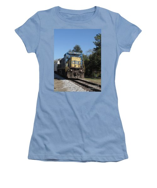 Women's T-Shirt (Junior Cut) featuring the photograph Coming Down The Track by Donna Brown