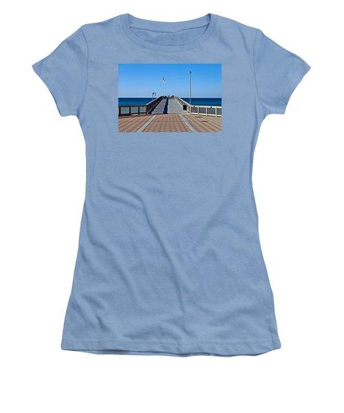 Women's T-Shirt (Junior Cut) featuring the photograph Entrance To A Fishing Pier by Susan Leggett