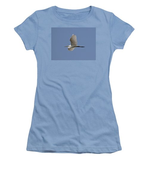 Women's T-Shirt (Junior Cut) featuring the photograph Flying Egret by Jeannette Hunt