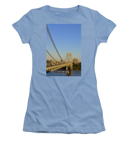 George Washington Bridge And Boat Women's T-Shirt (Athletic Fit)