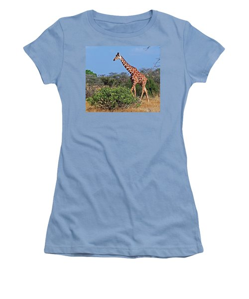 Giraffe Against Blue Sky Women's T-Shirt (Athletic Fit)