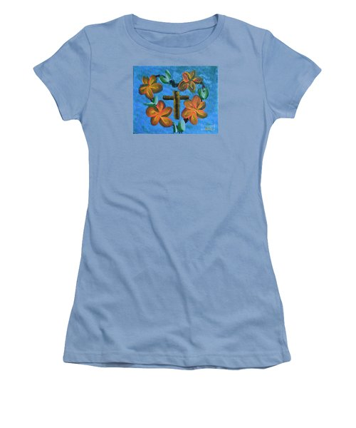 Women's T-Shirt (Junior Cut) featuring the painting His Love For Us by Donna Brown