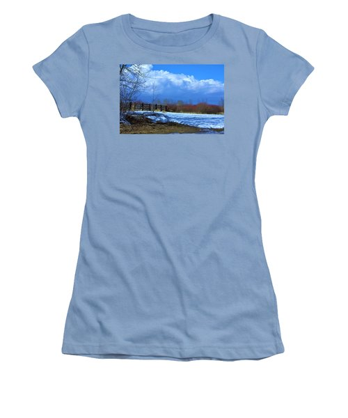 Women's T-Shirt (Junior Cut) featuring the photograph Landscape  Snow Scene by Johanna Bruwer