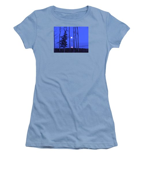 Women's T-Shirt (Junior Cut) featuring the photograph May Moon Through Birches by Francine Frank