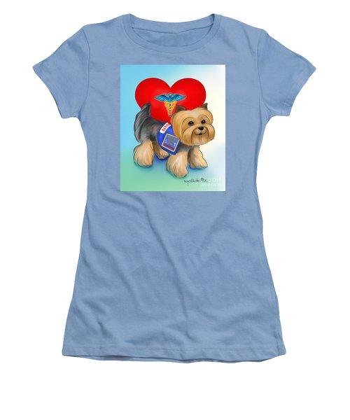 Medical Alert Yorkie Women's T-Shirt (Junior Cut) by Catia Cho