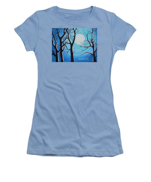 Women's T-Shirt (Junior Cut) featuring the painting Moon Light by Dan Whittemore