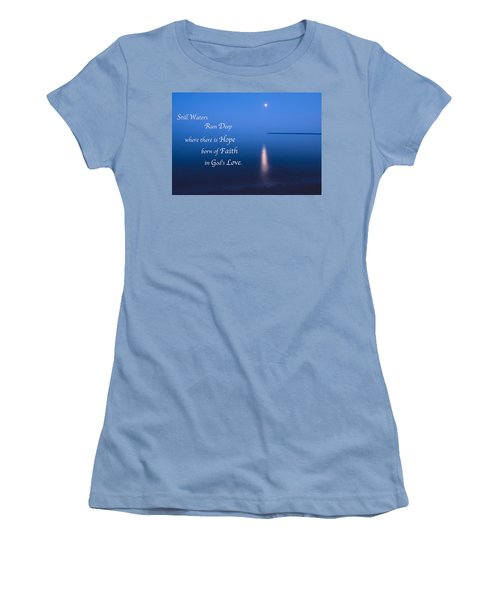 Moonrise On Lake Superior With Quote Women's T-Shirt (Athletic Fit)