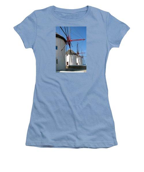 Mykonos Windmills Women's T-Shirt (Junior Cut) by Carla Parris