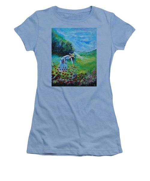 Women's T-Shirt (Junior Cut) featuring the painting Picking Flowers by Leslie Allen