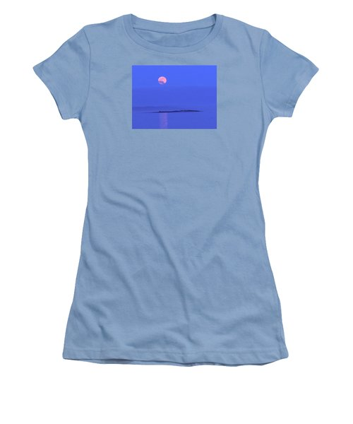 Women's T-Shirt (Junior Cut) featuring the photograph Pink May Moon by Francine Frank