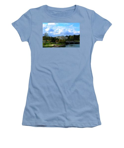 Women's T-Shirt (Junior Cut) featuring the photograph Rose Garden And Hoyt Lake by Michael Frank Jr