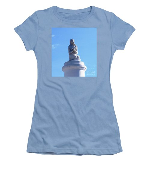 Women's T-Shirt (Junior Cut) featuring the photograph St. Louis Cemetery Statue 1 by Alys Caviness-Gober