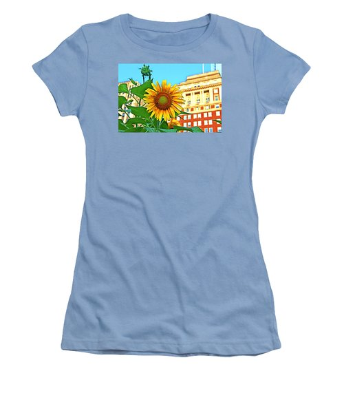Women's T-Shirt (Junior Cut) featuring the photograph Sunflower In The City by Alice Gipson