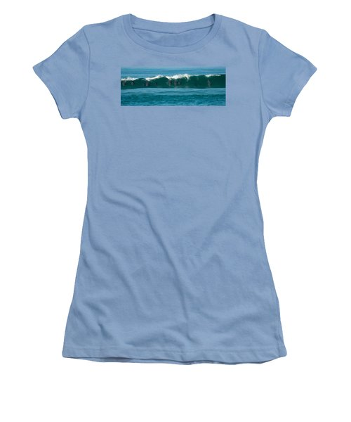 Surfing Dolphins 2 Women's T-Shirt (Athletic Fit)