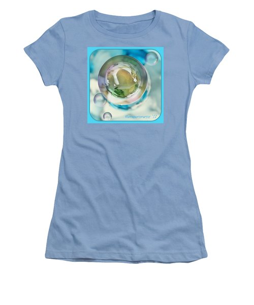 White Gladiola Marble In A Bubble Women's T-Shirt (Athletic Fit)