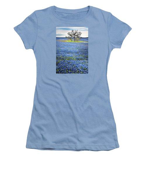 Bluebonnet Field Women's T-Shirt (Junior Cut) by David and Carol Kelly