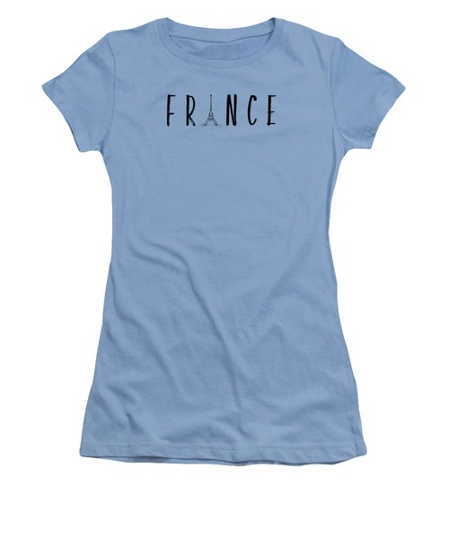 France Typography Panoramic Women's T-Shirt (Junior Cut) by Melanie Viola