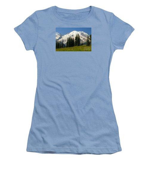 Mt. Rainier Alpine Meadow Women's T-Shirt (Junior Cut) by Chuck Flewelling