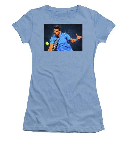 Novak Djokovic Women's T-Shirt (Junior Cut) by Semih Yurdabak