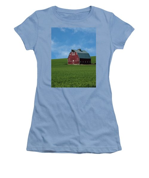 Old Red Barn In The Palouse Women's T-Shirt (Junior Cut) by James Hammond