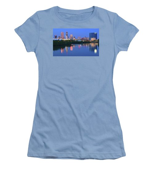 Panoramic Indianapolis Women's T-Shirt (Junior Cut) by Frozen in Time Fine Art Photography