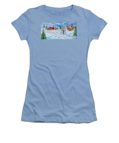 Winter Hamlet Women's T-Shirt (Junior Cut) by Mike Caitham